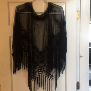Marina shear beaded black pullover shawl